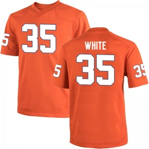 Javan White Nike Clemson Tigers Men's Game Team Color College Jersey - Orange